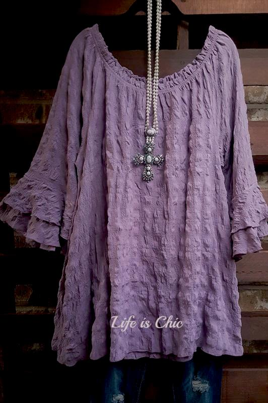 BRIGHTEST DAYS AMETHYST STRETCHY BUBBLY TOP [product vendor] - Life is Chic Boutique