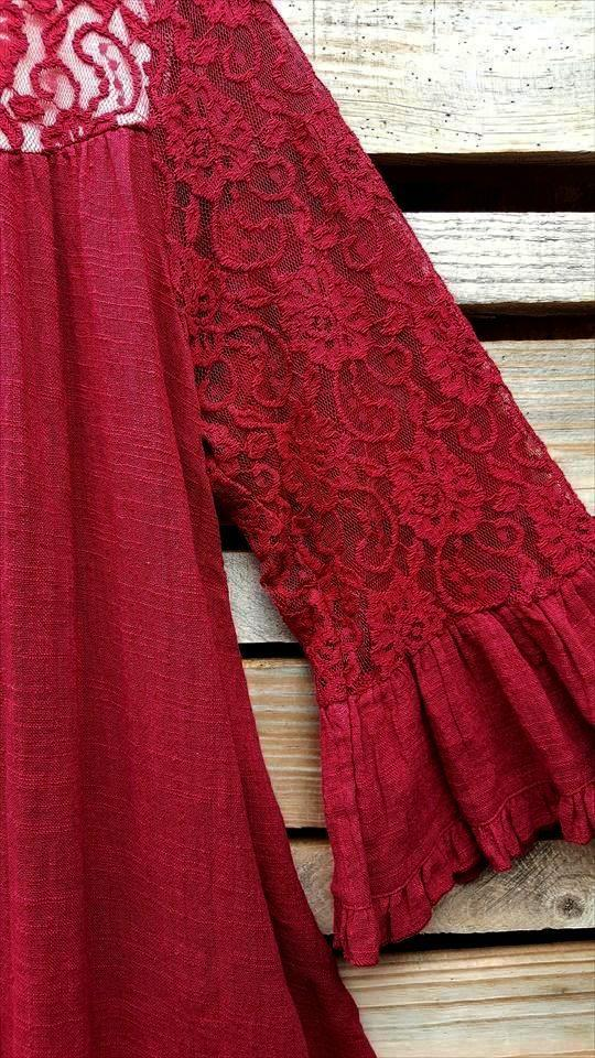 EVERYDAY'S MUSE LACE DRESS IN CRIMSON