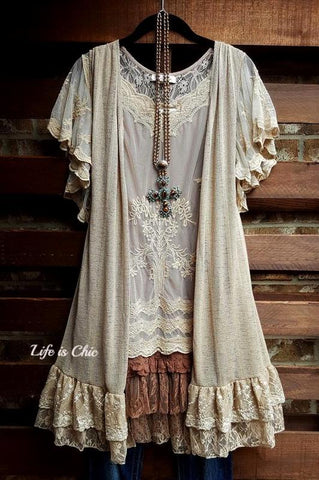 I'M ETERNALLY YOURS LACE SLIP EXTENDER DRESS IN LIGHT BROWN