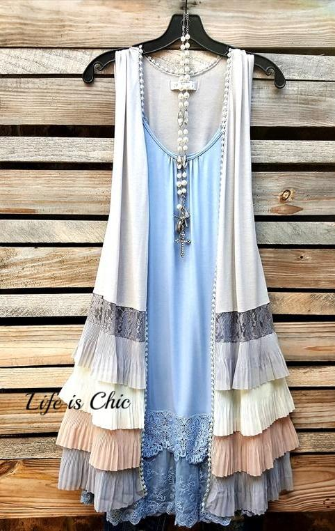 INFINITE AMORE EMBELLISHED VEST IN LIGHT GRAY MULTI [product vendor] - Life is Chic Boutique