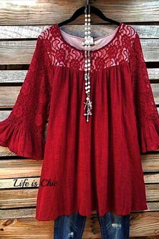 EVERYDAY'S MUSE LACE TOP IN CRIMSON