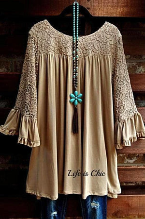 EVERYDAY'S MUSE LACE DRESS IN TAUPE [product vendor] - Life is Chic Boutique