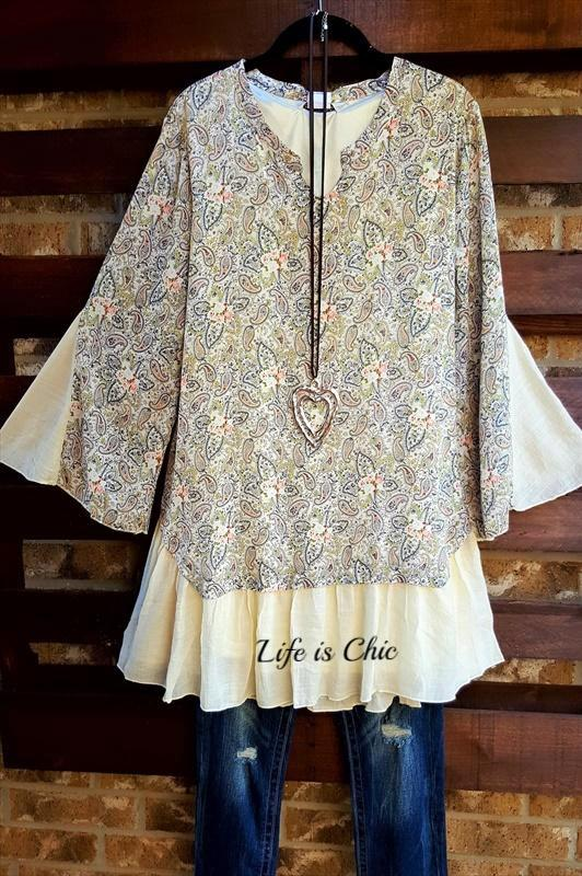 LOVE FOR PAISLEYS TUNIC IN BEIGE MIX [product vendor] - Life is Chic Boutique