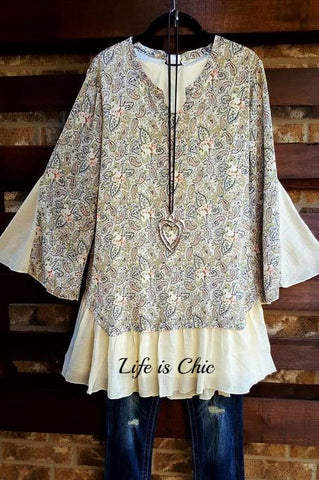 FAB CHARMING OFF SHOULDER FLORAL LACE TUNIC IN CREAM