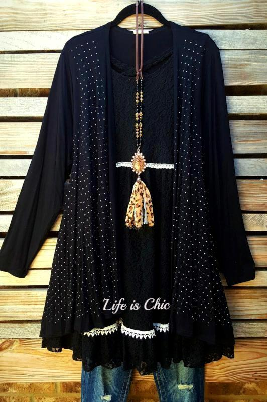 LET'S GO OUT IN STYLE EMBELLISHED WITH STONES CARDIGAN IN BLACK [product vendor] - Life is Chic Boutique