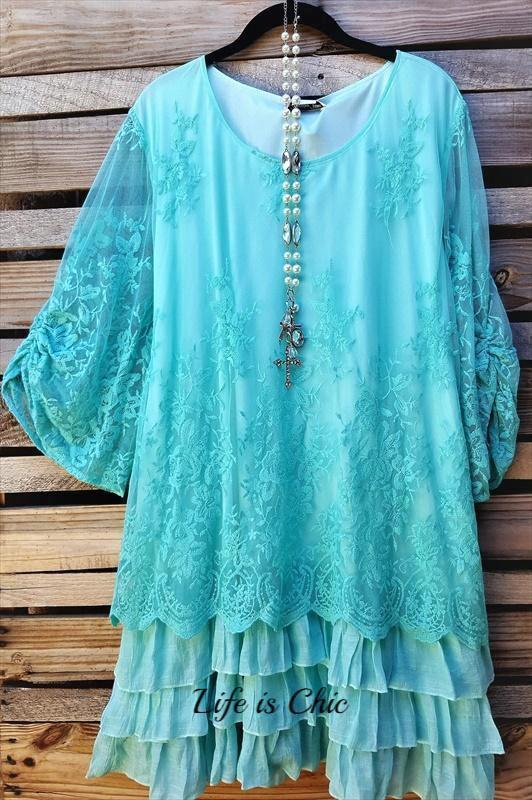ALL THIS BEAUTY LACE EMBROIDERED 3/4 SLEEVE TUNIC IN MINT [product vendor] - Life is Chic Boutique