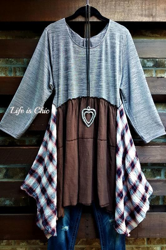 FREE SPIRIT HEART TUNIC ASYMMETRIC IN TAUPE AND BROWN MIX [product vendor] - Life is Chic Boutique