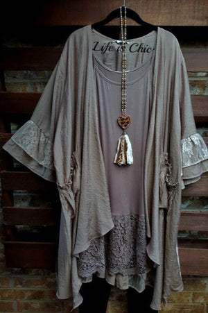 DOLCE VITA LACE BOHO CHIC CARDIGAN IN TAUPE [product vendor] - Life is Chic Boutique