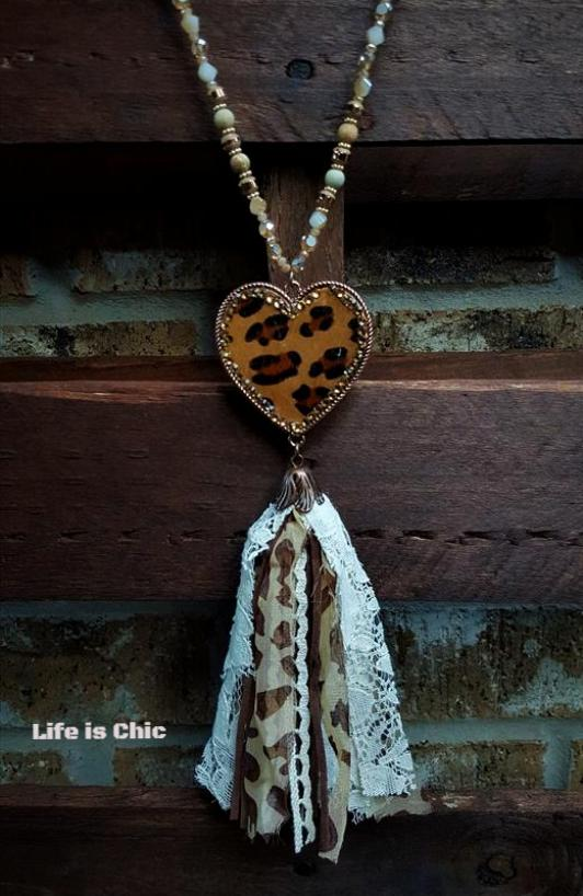 FAB LEOPARD HEART RHINESTONE TASSEL NECKLACE [product vendor] - Life is Chic Boutique