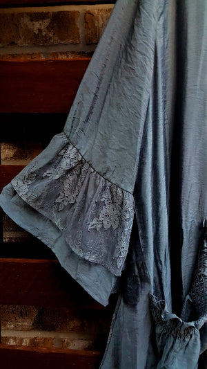DOLCE VITA LACE BOHO CHIC CARDIGAN IN GRAY BLUE [product vendor] - Life is Chic Boutique