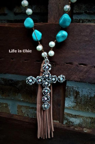 CROSS NECKLACE RHINESTONE & TURQUOISE