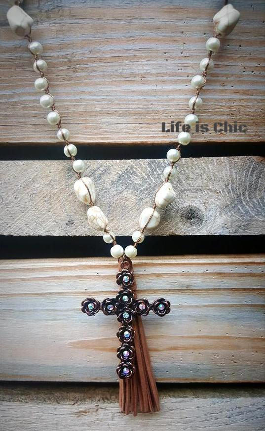MYSTIC TASSEL CROSS NECKLACE IVORY [product vendor] - Life is Chic Boutique
