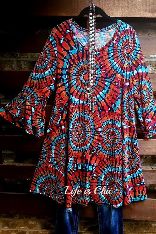 ALL FOR WONDER RED MIX DRESS [product vendor] - Life is Chic Boutique