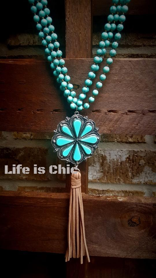 IT'S SO PRETTY TURQUOISE FLOWER NECKLACE [product vendor] - Life is Chic Boutique