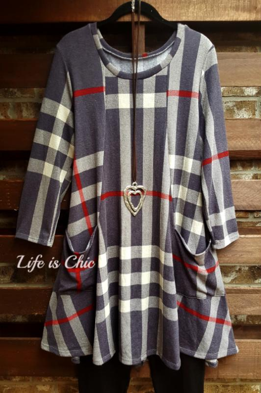WALK THE LINE PLAID DRESS FRONT POCKET PATCH IN GRAY MIX