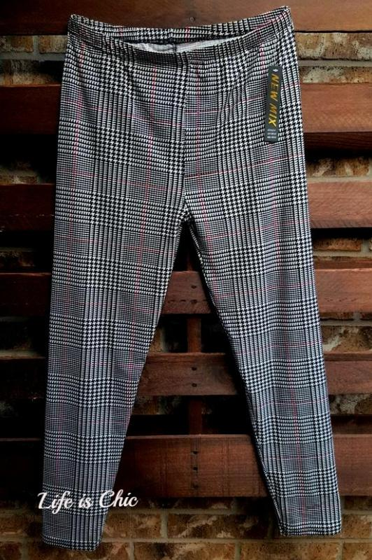 CLASSIC GLEN PLAID OVERCHECK PRINT PLUS SIZE LEGGINGS [product vendor] - Life is Chic Boutique