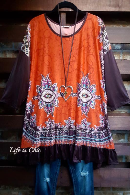 BOHEMIAN SOUL OVERSIZED TUNIC IN RUST BROWN MIX [product vendor] - Life is Chic Boutique
