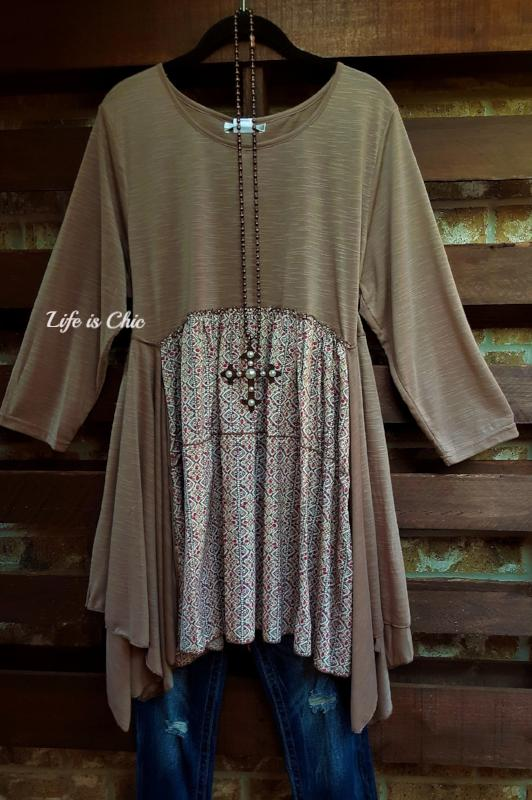 FREE SPIRIT HEART TUNIC ASYMMETRIC IN MOCHA MIX [product vendor] - Life is Chic Boutique