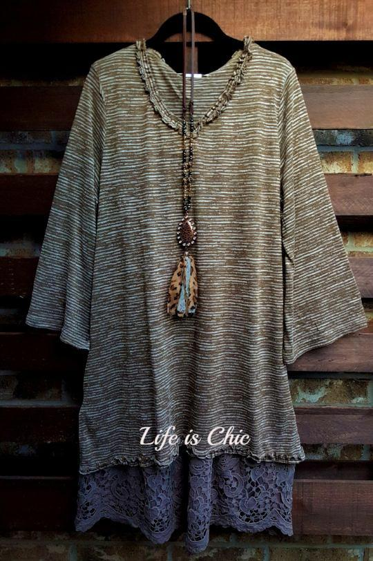 RUSTIC BEAUTY SO SOFT AND COMFY TEE TUNIC IN BROWN MIX [product vendor] - Life is Chic Boutique