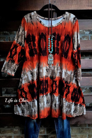 SOMETHING TO BELIEVE IN DRESS TIE DYE BRUSHED PRINT IN RUST [product vendor] - Life is Chic Boutique