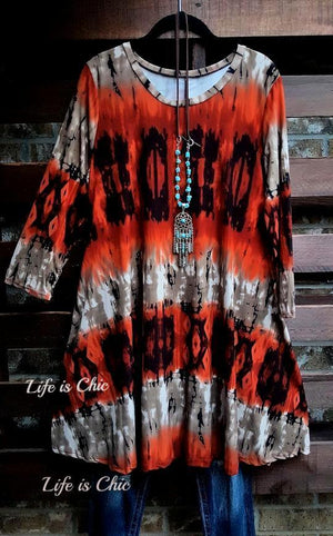 SOMETHING TO BELIEVE IN DRESS TIE DYE BRUSHED PRINT IN RUST