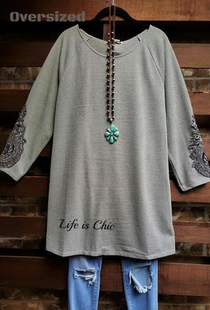 MY FANCY SWEATER TUNIC EMBELLISHED LACE SLEEVE IN SILVER GRAY