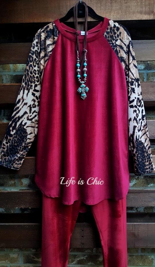 A BIT OF SOMETHING PRETTY CORDUROY BODICE AND LEOPARD IN BURGUNDY [product vendor] - Life is Chic Boutique