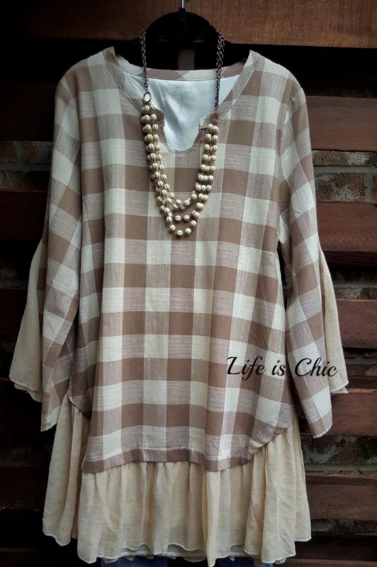 CLASSIC IN EVERY MOMENT BEIGE AND TAUPE TOP [product vendor] - Life is Chic Boutique