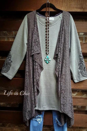D'AMORE DREAM LACE VEST IN GRAY [product vendor] - Life is Chic Boutique