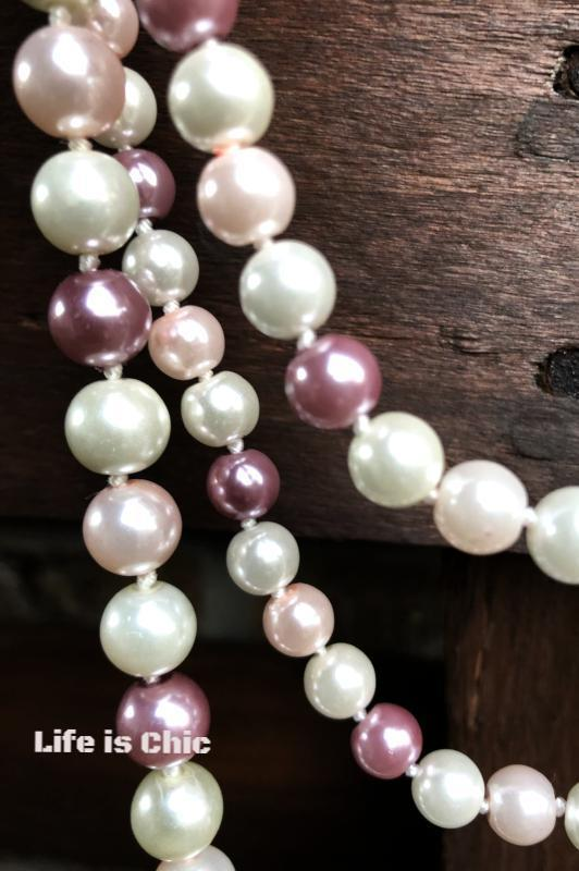FANCY FINISH LONG LAYERED PEARL BEAD NECKLACE IN PINK