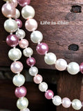 LAYERED MIX PEARL BEAD NECKLACE IN LAVENDER AND PINK [product vendor] - Life is Chic Boutique