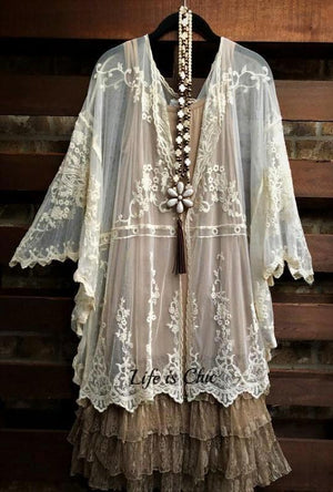 EVER SO SWEET AND CHARMING EMBROIDERED LACE SHEER DUSTER CARDIGAN IN BEIGE