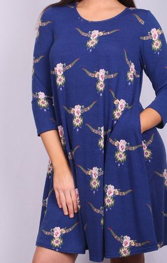 WESTERN FIELD OF FLOWERS DRESS IN ROYAL BLUE---------sale