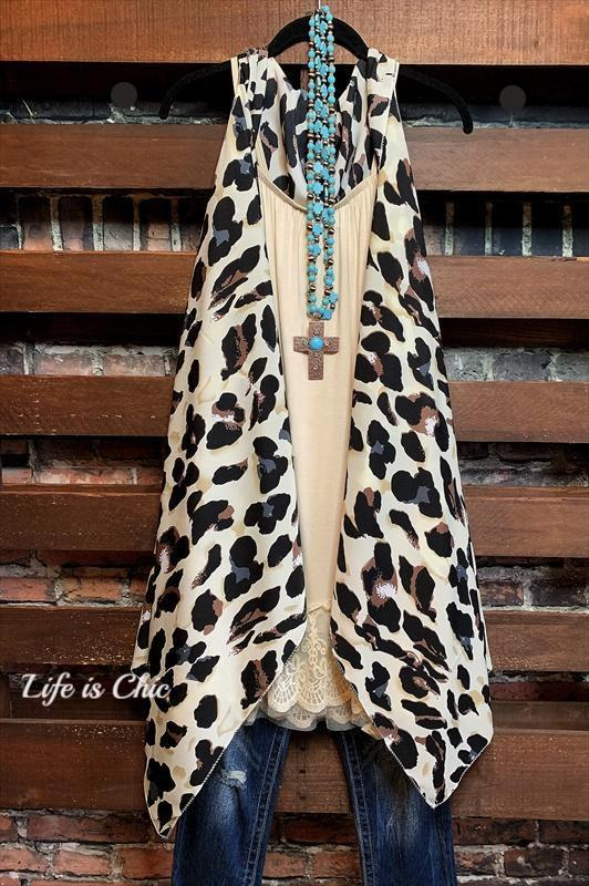 GO OUT IN STYLE LEOPARD PRINT CASCADE VEST TAUPE & BROWN