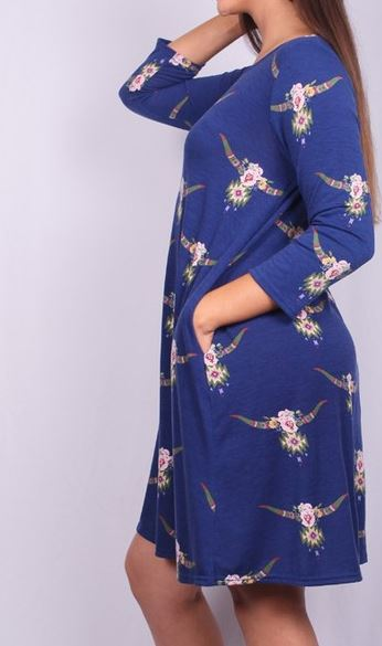 WESTERN FIELD OF FLOWERS DRESS IN ROYAL BLUE