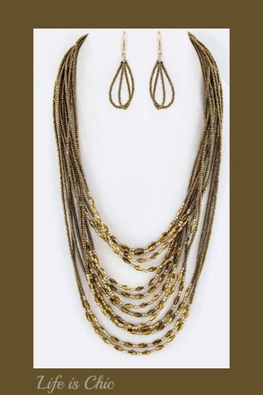 ANYWHERE LAYERED MIX BEAD NECKLACE IN GOLD COLOR [product vendor] - Life is Chic Boutique