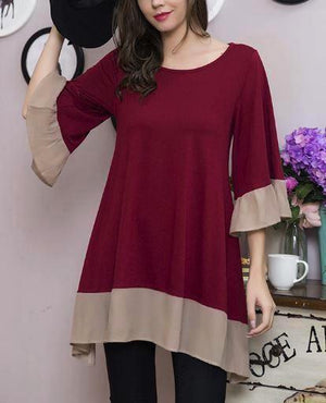 UNIQUE BEAUTY LIGHTWEIGHT TIMELESS TUNIC IN CRIMSON