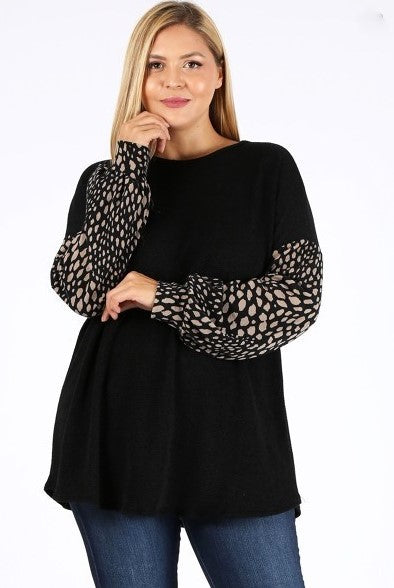 BELIEVE THIS BEAUTY TOP BLOUSE IN BLACK MIX