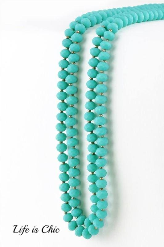 ANYWHERE LAYERED MIX BEAD NECKLACE IN TURQUOISE