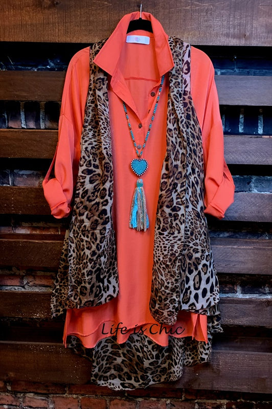 LIFETIME OF JOY OVERSIZED SHIRT TUNIC POCKETS IN CORAL