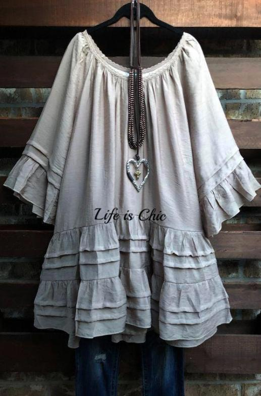 BOHO SWING OVERSIZED DRESS IN TAUPE