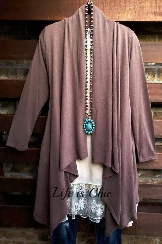 JUST LIKE THAT A CARDIGAN SWEATER TUNIC MOCHA [product vendor] - Life is Chic Boutique