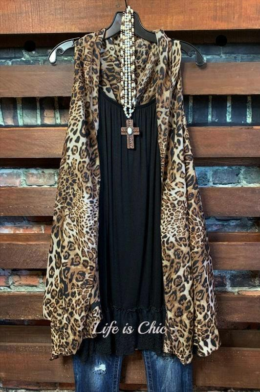 GO OUT IN STYLE LEOPARD PRINT CASCADE VEST BROWN