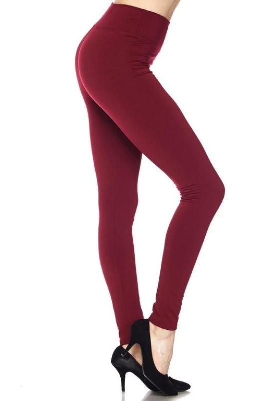 PLUS SIZE FLEECE INSIDE ANKLE LEGGINGS HIGHWAIST IN BURGUNDY
