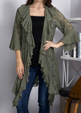 FLEUR DE LIS LACE DUSTER CARDIGAN IN OLIVE GREEN
