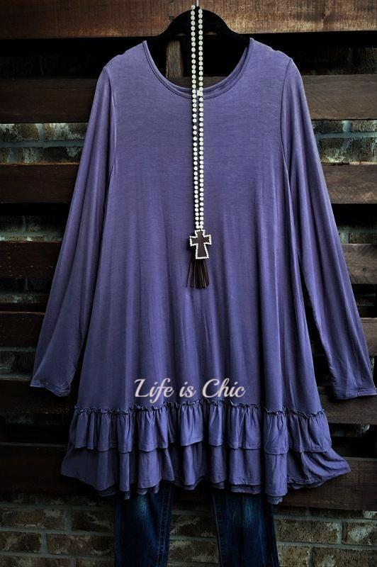 LOVELY COZY OVERSIZED COMFY DRESS IN PURPLE BEAN