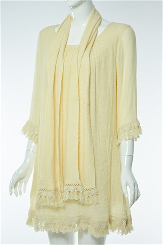 "STAY TRUE TO YOURSELF TUNIC & SCARF IN BEIGE  size "" 2X"" - SALE [product vendor] - Life is Chic Boutique"