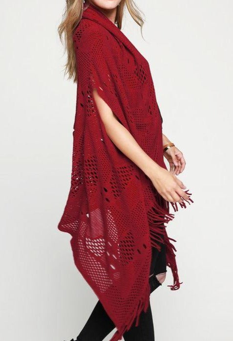 COZY CHARM TO GO IN STYLE FRINGE KNIT CARDIGAN VEST IN RED RUBY
