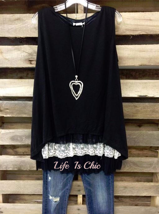 GYPSY SOUL BOHO LACE LAYERING DRESS - BLACK [product vendor] - Life is Chic Boutique
