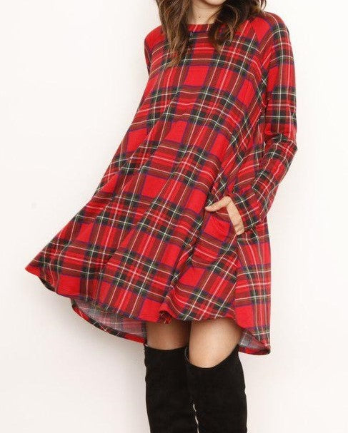 CROSS MY MIND DRESS LONG SLEEVE PLAID PRINT IN RED--------------sale